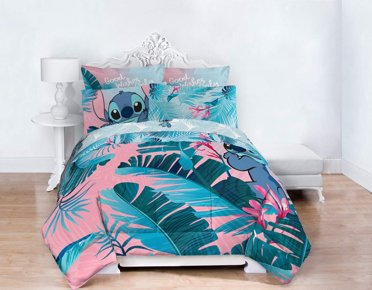 Jay Franco Disney Lilo & Stitch Floral Fun 7 Piece Full Bed Set - Includes Reversible Comforter & Sheet Set Bedding - Super Soft Fade Resistant Microfiber - (Official Disney Product) by Jay Franco (Image #8)