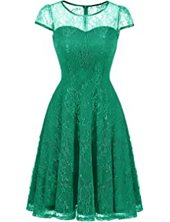 f9d898b6228 DRESSTELLS Women s Bridesmaid Dress Retro Lace Swing Party Dresses with Cap- Sleeves
