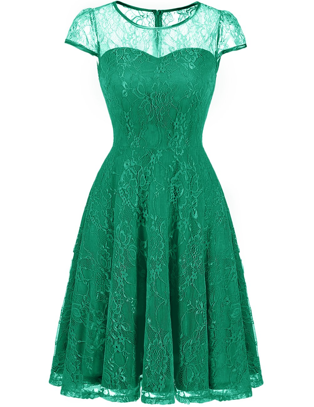 DRESSTELLS Women's Bridesmaid Dress Retro Lace Swing Party Dresses with Cap-Sleeves Green 3XL