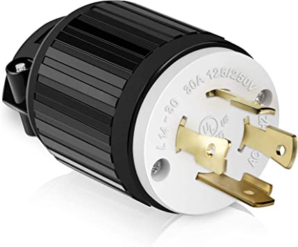 Cable Matters 2 Pack 30A 125//250V 4 Prong Replacement Plug NEMA L14-30P 3-Pole // 4-Wire Locking Replacement Plug