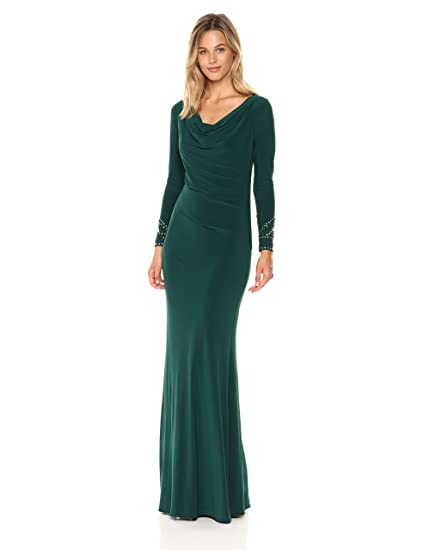 7a33b5143fc24 Betsy & Adam Women's Long Sleeve Cowl Neck Gown: Amazon.in: Clothing ...