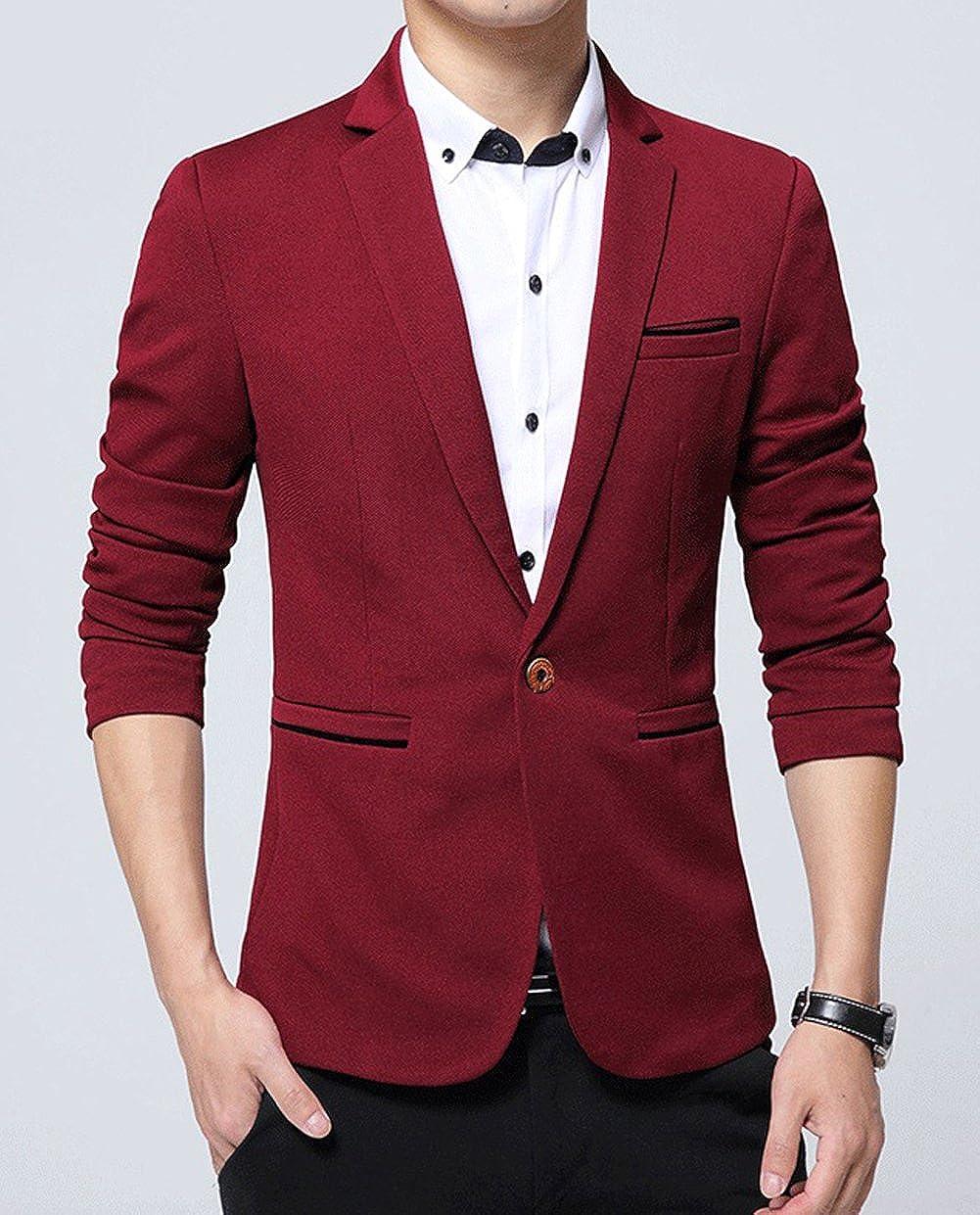 OUYE Mens Classic 1 Button Slim Fit Suit Jacket Casual Blazer