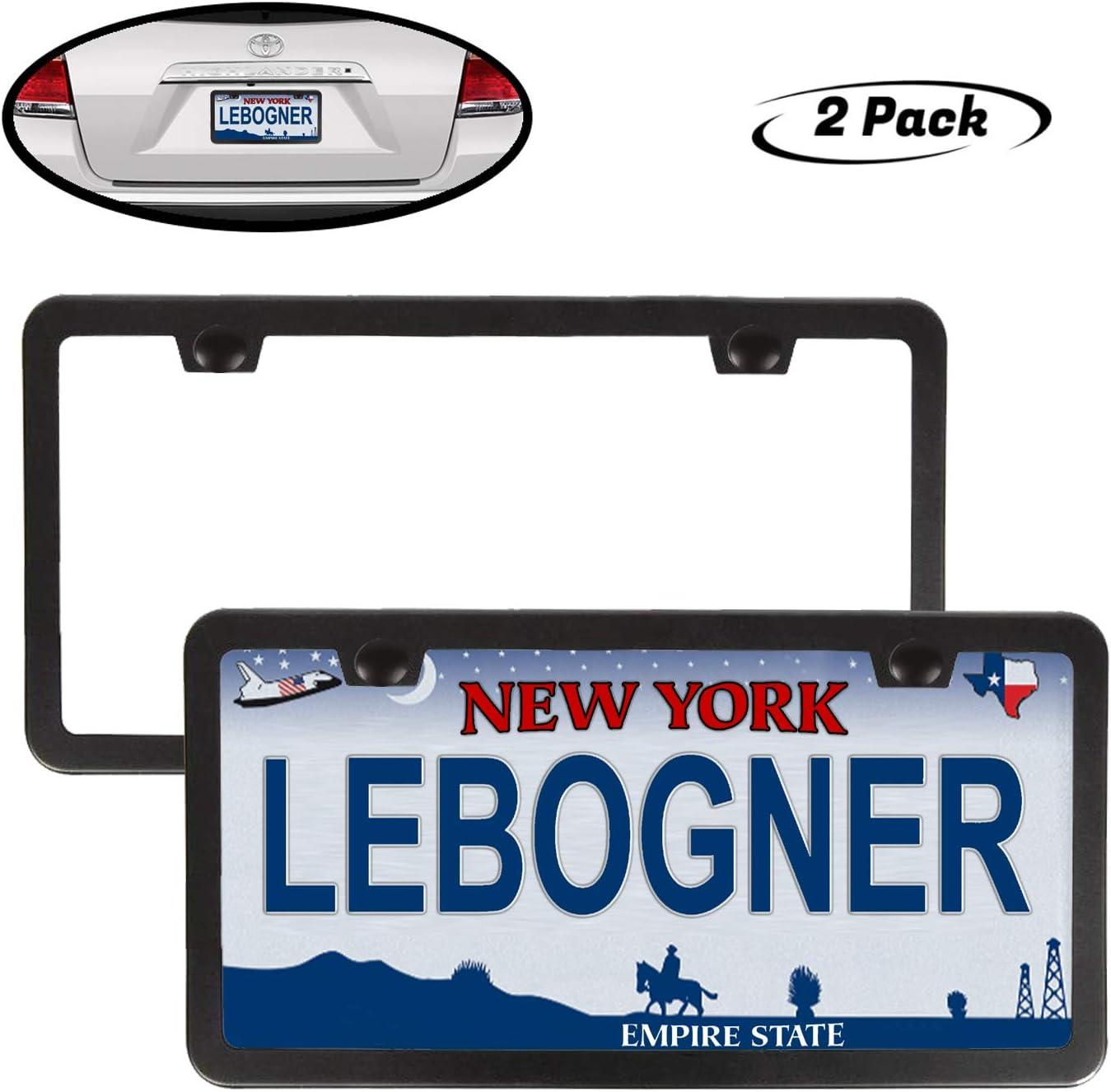 Lebogner Car License Plate Frames, 2 Pack Matte Aluminum Slim Design Plate Frames Fits Standard US Plates, 2 Hole Stainless Steel Black Unbreakable Frames To Protect Plates, Mounting Hardware Included