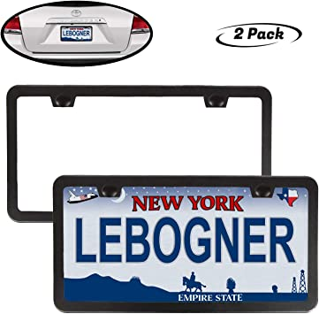 2 Pack Clear Bubble Design Novelty Plate Covers to Fit Any Standard US Plates lebogner Car License Plates Shields and Frames Combo Screws Included license plate cover LOR-A-1057 Unbreakable Frame /& Covers to Protect Plates