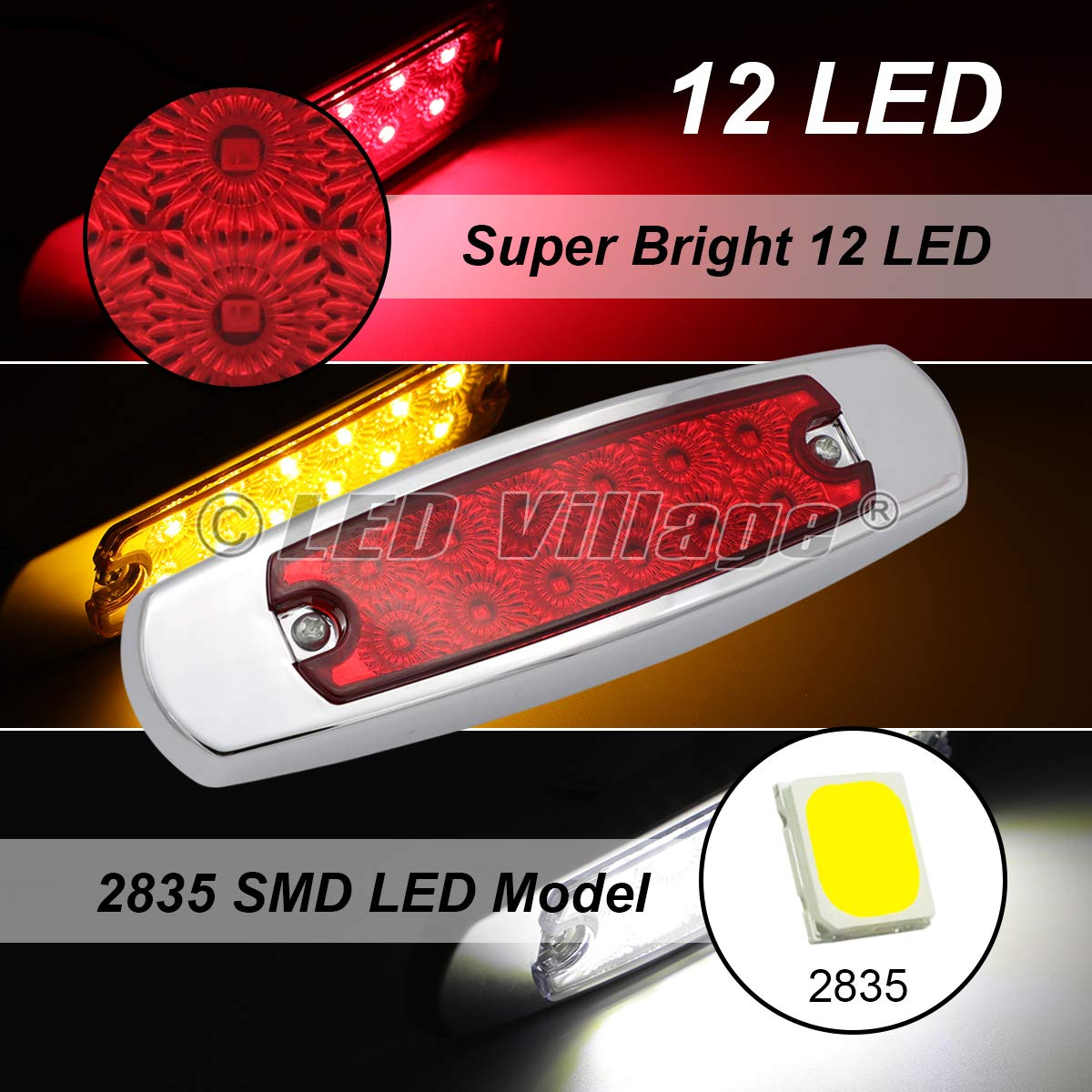 Pack of 2 Fish Shape 6.4 Inch Clear Lens Red LED 12 Diodes Surface Mount Side Maker Lights Truck Peterbilt Style Clearance Lamp Pickup Trailer RV Lorry Chrome Housing Super Bright LedVillage 24V DC