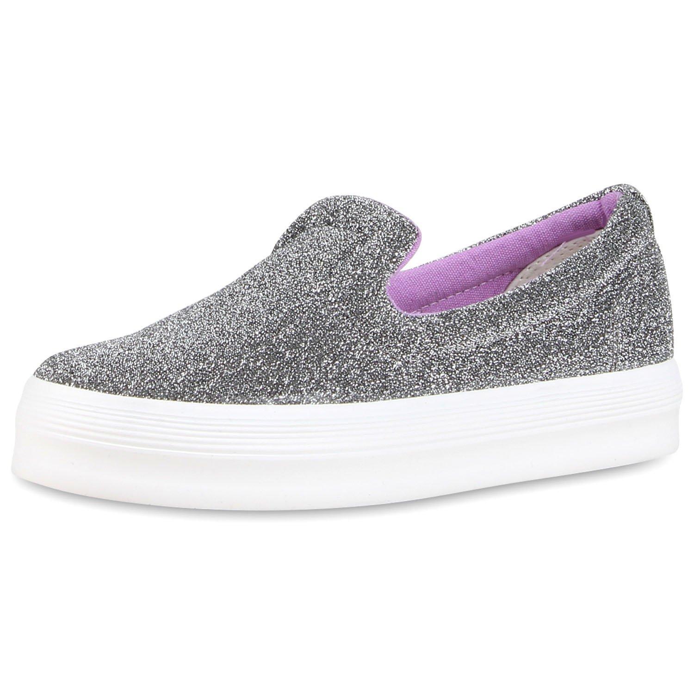 Japado Damen Sneaker Slip-Ons mit Plateau Glitzer  38 EU Grau Meliert