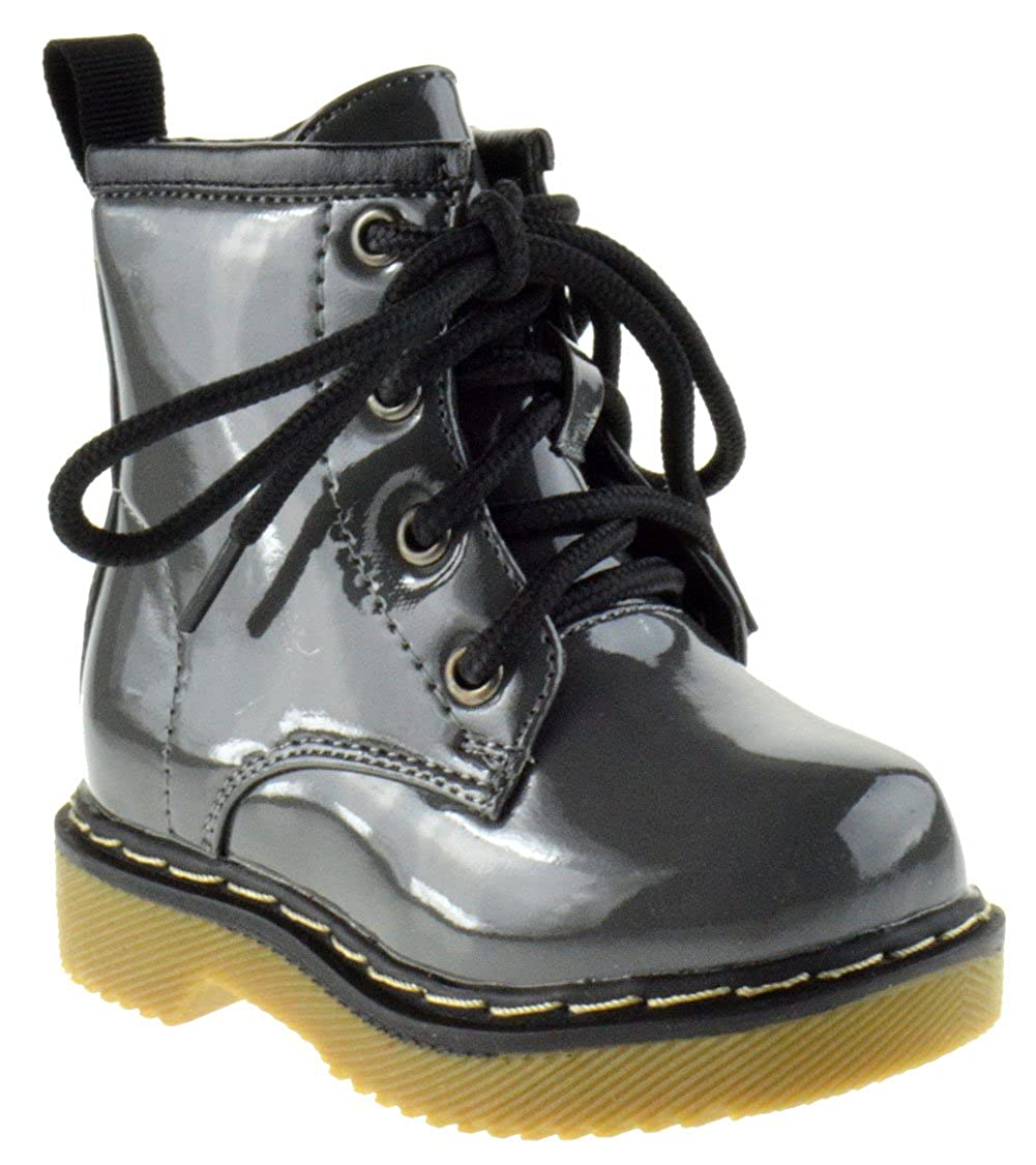 COCO Jumbo Jane Little Girls Combat Lace Up Patent Combat Boots
