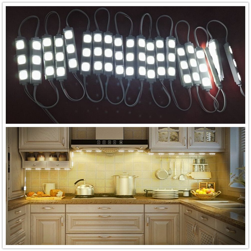 DishyKooker 10ft 12V 20W 2400LM 60 SMD5730 LED Mirror Light with Touch Switch Brightness Dimmer for Cabinet Closet Kitchen Counter Decoration Warm White US regulations