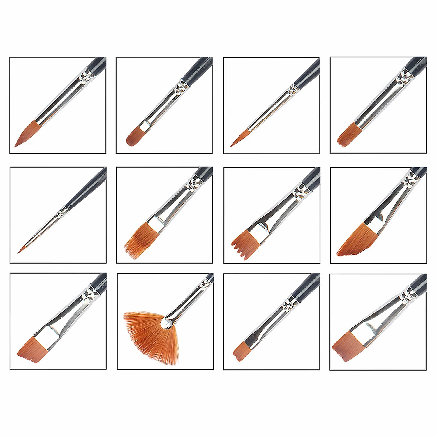 Paint Brush Set, Morkia 12pcs Round Pointed Tip Nylon Hair Artist Acrylic Brushes and 2pcs Paint Tray Palettes for Watercolor Acrylics, Oil Painting Supply