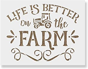 Life is Better On The Farm Stencil Template - Reusable Stencils for Painting in Small & Large Sizes