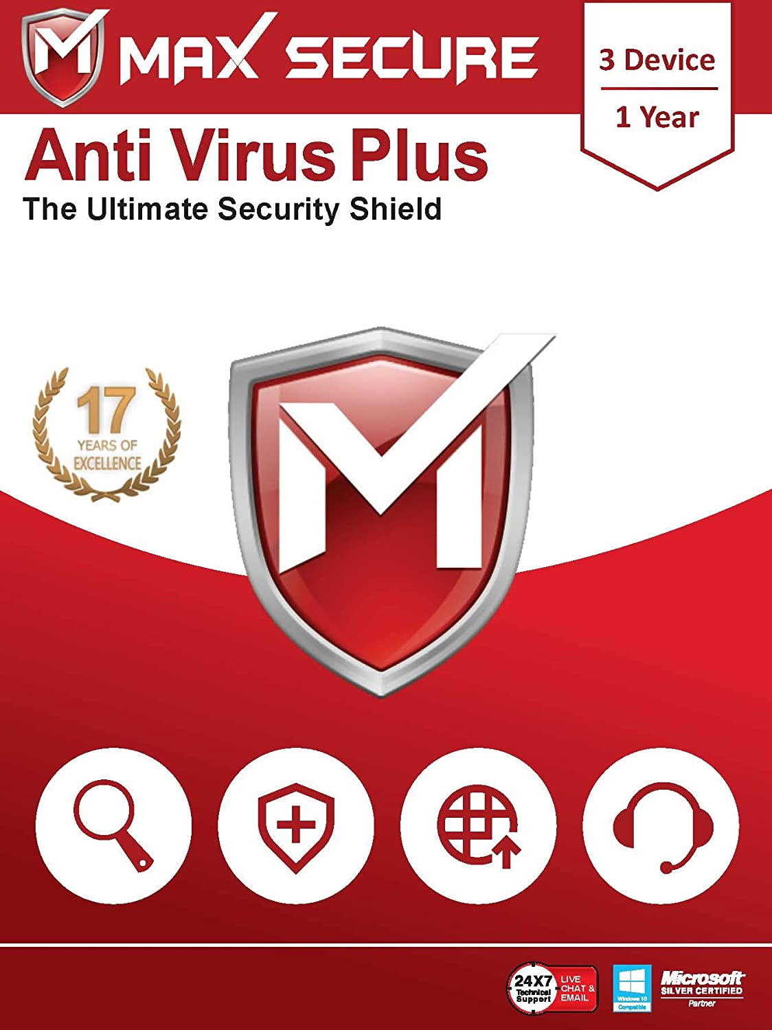 Max Secure Software Antivirus Plus for PC 2019 | 3 Device | 1 Year (Activation Key Card)