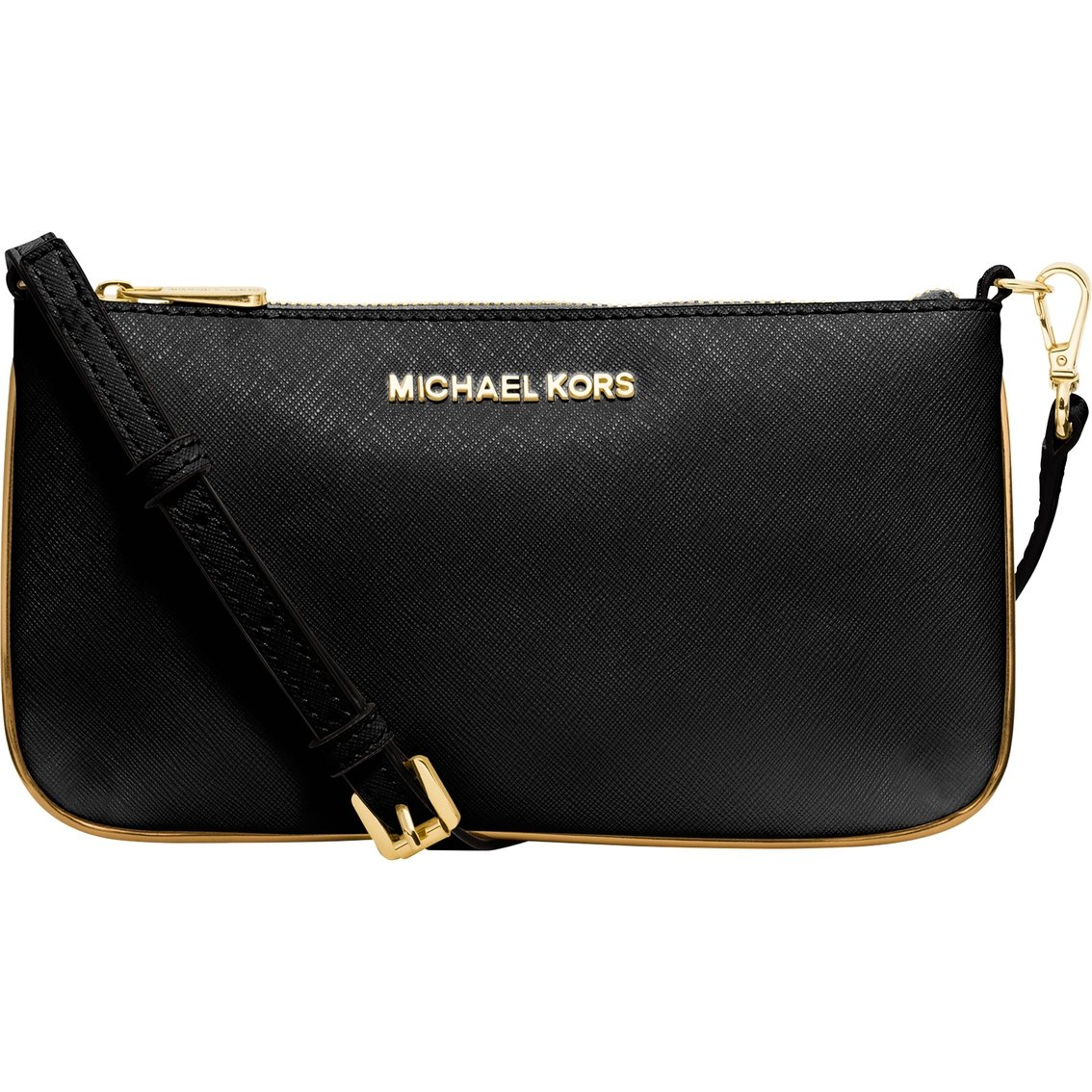 MICHAEL Michael Kors Womens Small Slim Specchio Crossbody (Black/Gold)