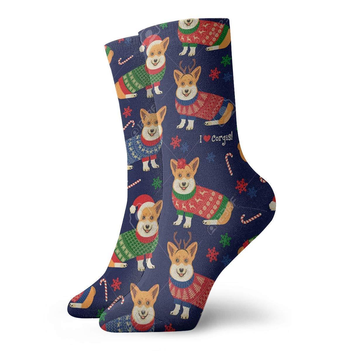 Christmas-pattern-corgis Unisex Funny Casual Crew Socks Athletic Socks For Boys Girls Kids Teenagers
