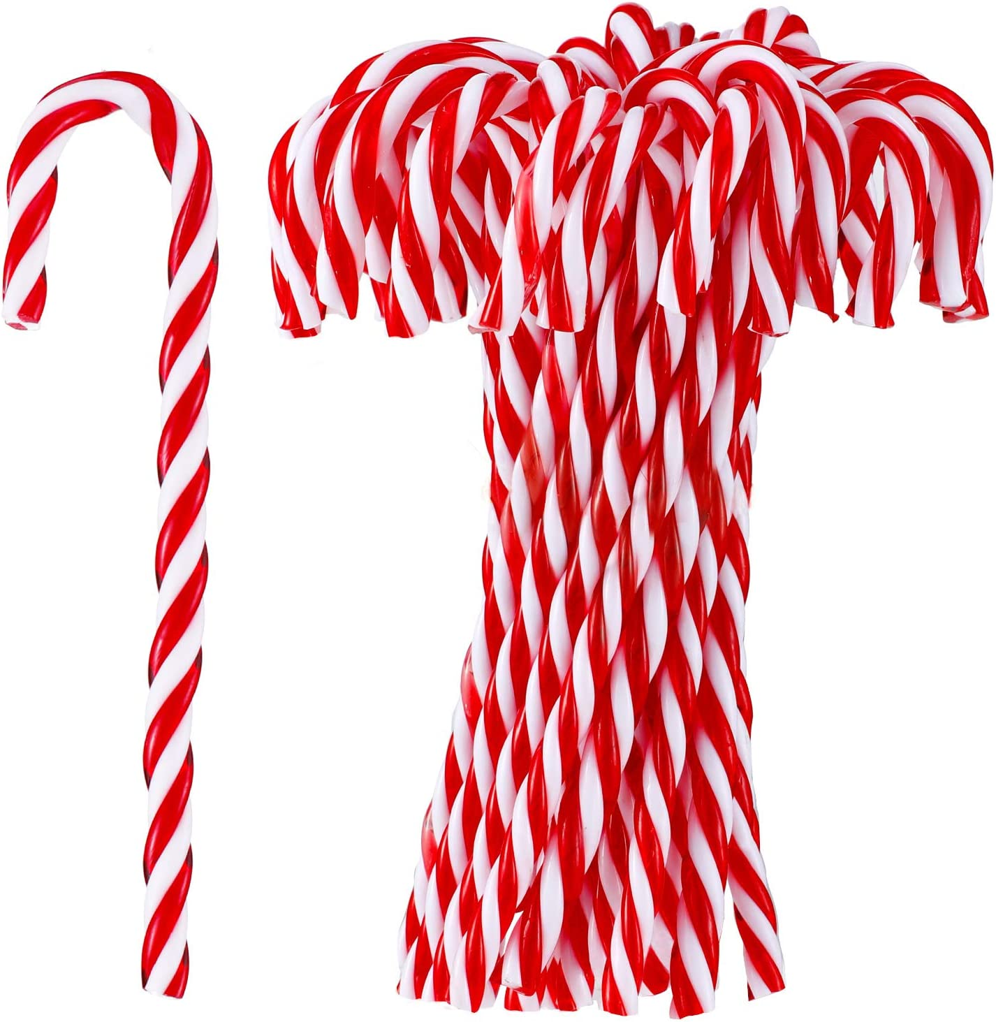 Sumind 80 Piece Christmas Crutch Plastic Candy Cane Hanging Ornaments Christmas Cane Accessories Hanging for Christmas Party