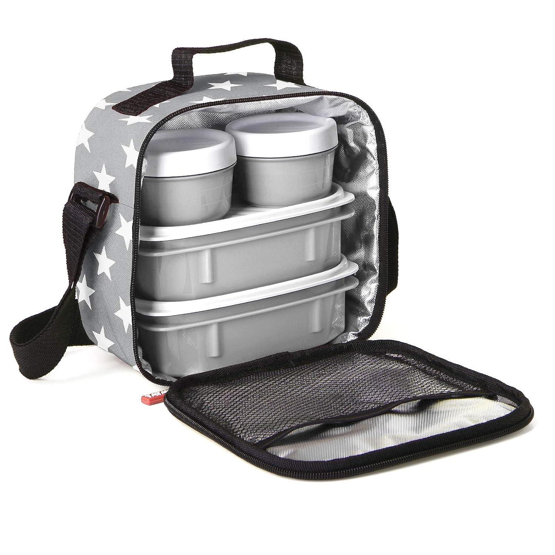 Bolsa t/érmica Porta Alimentos con tapers herm/éticos Stars Grey PracticFood