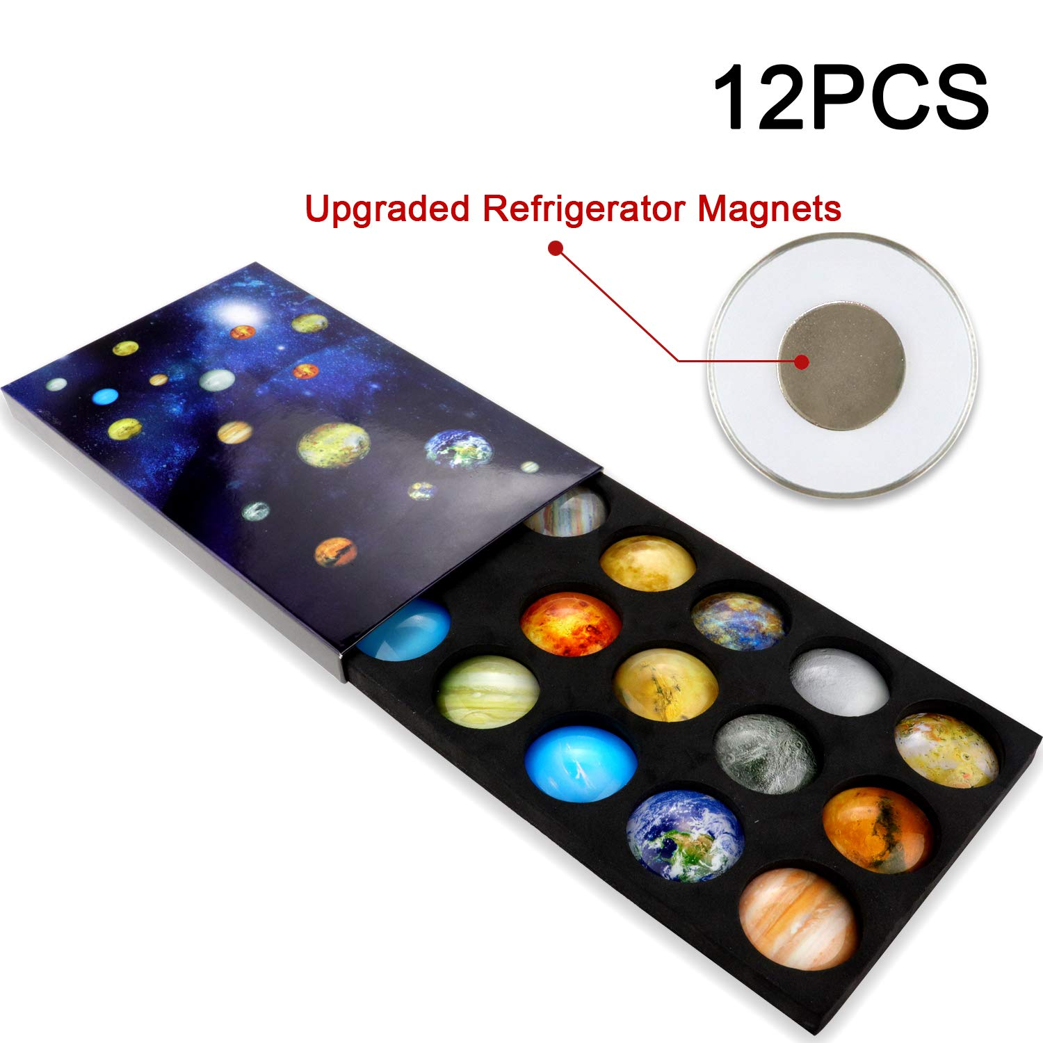 Ktdorns Planetary Fridge Magnets -12 Pack Refrigerator Magnets, Office Magnets, Calendar Magnet, Whiteboard Magnets,Perfect Decorative Magnet Set with Storage Box (Upgraded Refrigerator Magnets)