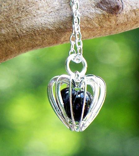Bottled Up Designs Collar de jaula de corazón de vidrio negro ...