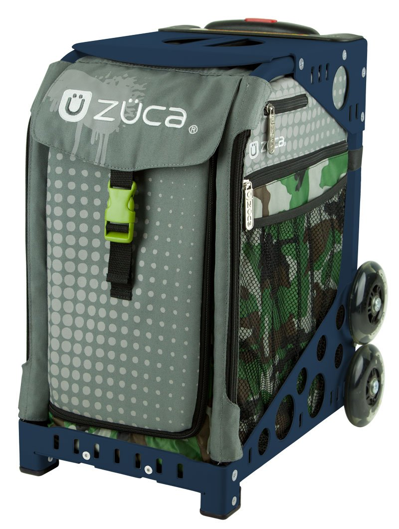 Zuca Paintball Sport Insert Bag and Navy Blue Frame with Flashing Wheels