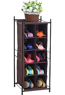 StorageManiac 5 Tier 10 Pair Shoe Cubby Organizer, Stackable Shoe Storage,  10