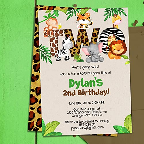 amazon com jungle 2nd birthday party invitations jungle animals