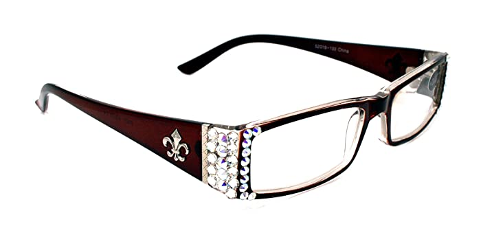 80f9def1f8f3 The French, Rectangular Fleur De Lis Women Reading Glasses Adorned With  Clear & AB SWAROVSKI Crystals +1.00 +1.50 +1.75 +2.00 +2.25 +2.50 +2.75  +3.00 AB ...