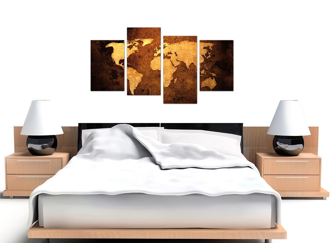 Wallfillers canvas pictures of a world map in brown and tan for your wallfillers canvas pictures of a world map in brown and tan for your bedroom large vintage wall art 4188 amazon kitchen home freerunsca Images