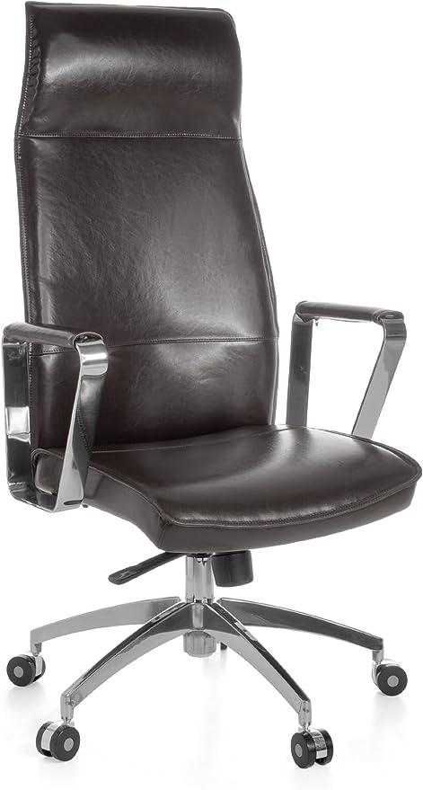 AMSTYLE Bürostuhl Verona Bezug Echtleder Braun Schreibtischstuhl XXL 120kg Synchronmechanik Chefsessel Wippfunktion höhenverstellbar hohe Rückenlehne
