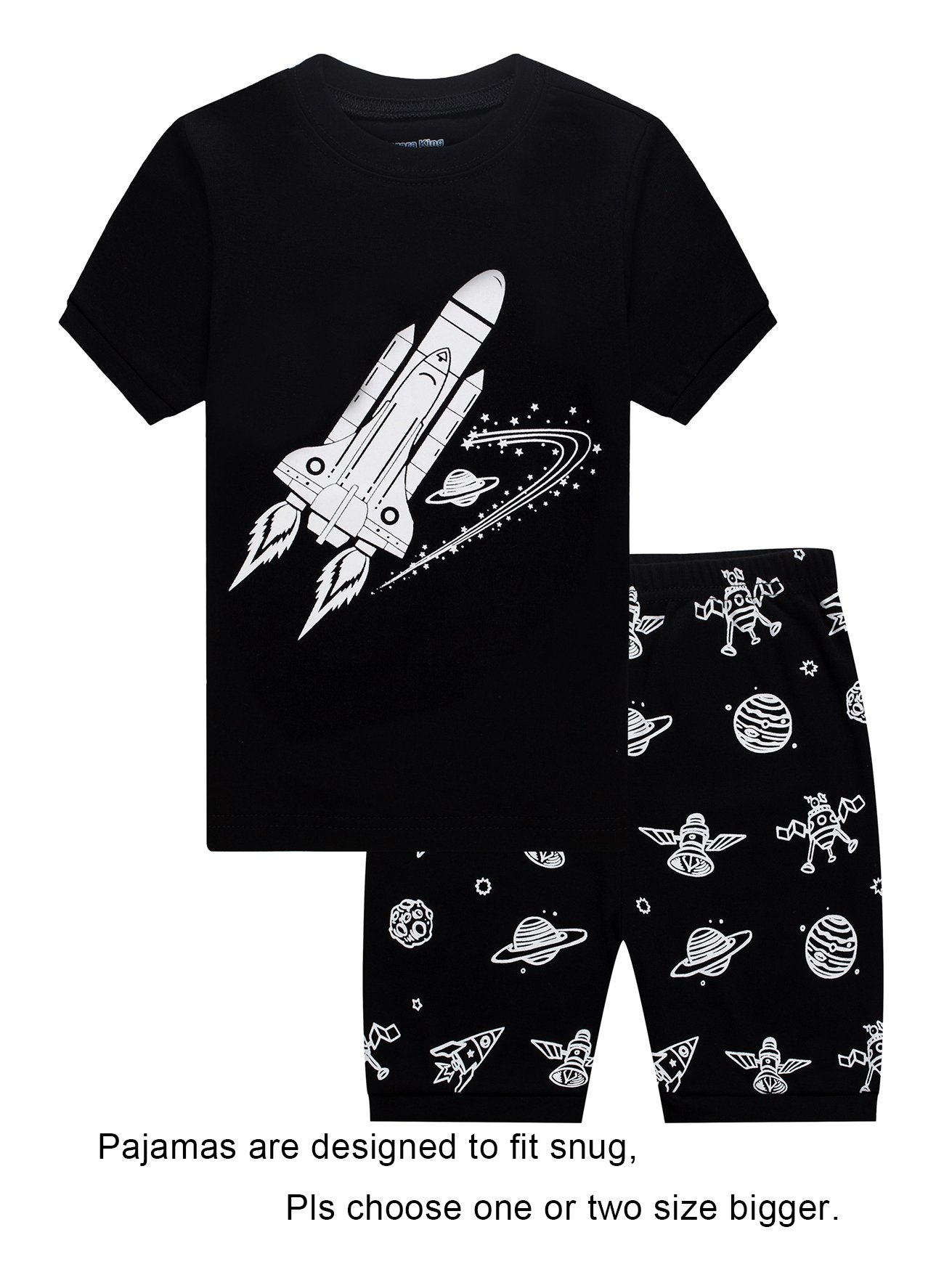 Barara King Big Boys Snug-Fit Pajama Rockets 100% Cotton Black Pjs Clothes Kid 8