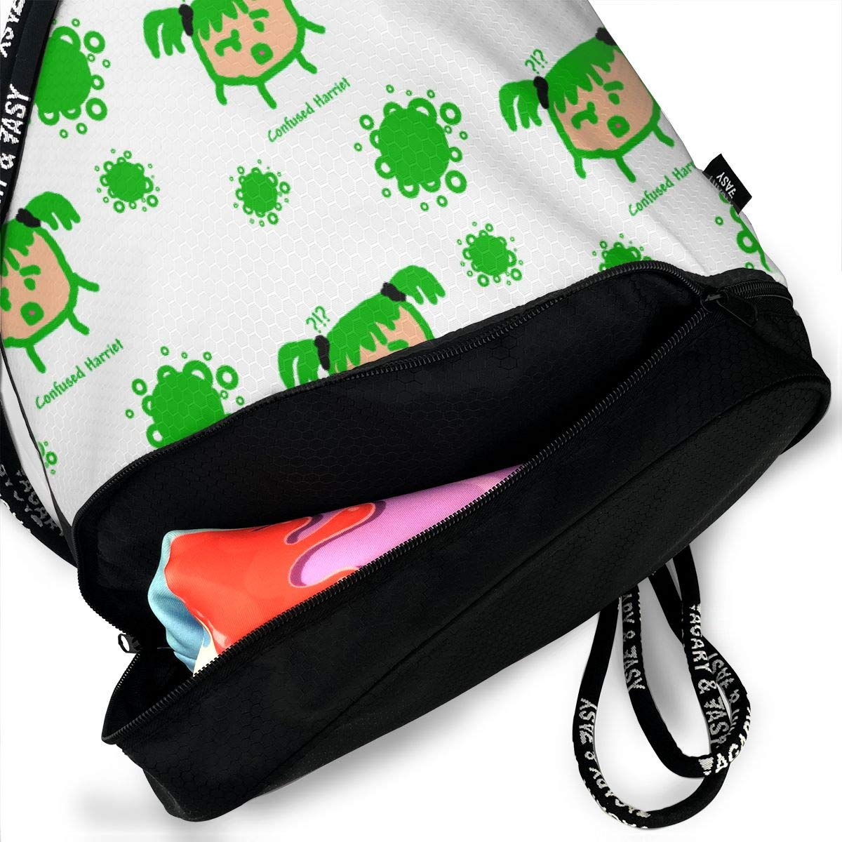 Confused Bubbles Drawstring Backpack Sports Athletic Gym Cinch Sack String Storage Bags for Hiking Travel Beach