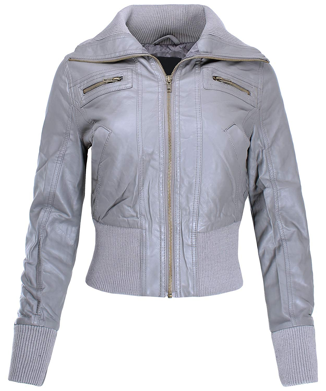 Ladies' Code Women's Zip up Cropped Biker Faux Leather Jacket LCJA038