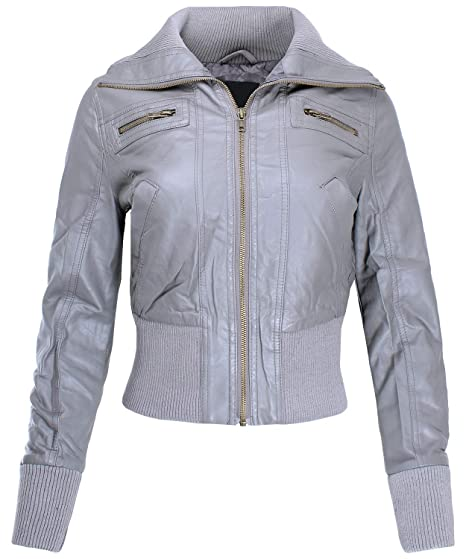 3067387ff Ladies' Code Women's Zip Up Cropped Biker Faux Leather Jacket