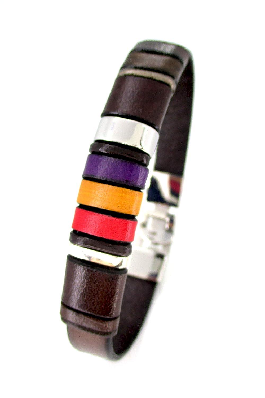 Pulsera cuero marrón, pulsera bandera republicana, accesorio de cuero para hombre, diseños exclusivos, joyería para hombre, pulsera república española: Amazon.es: Handmade