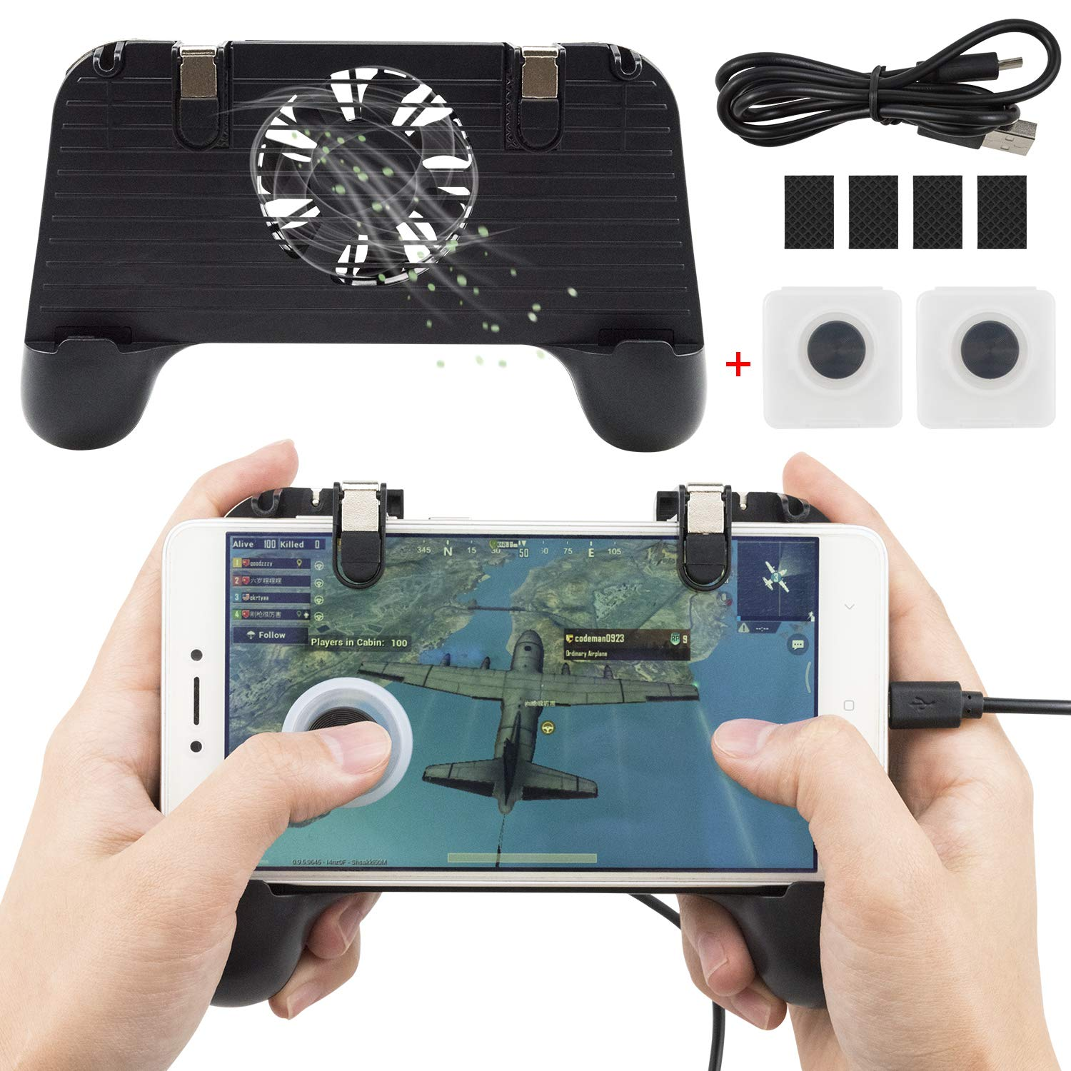 EAONE Mobile Game Controller 4 in 1 Gamepad Sensitive Shoot Aim Fire Triggers Phone Cooler Cooling Pad Power Bank with 2Pcs Sucker Joysticks for PUBG/Rules of Survival Fit iOS and Android