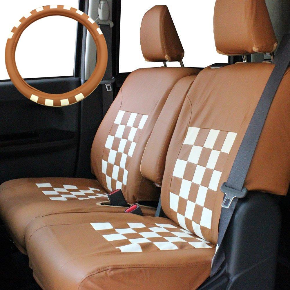 Trancess HE22S アルトラパン専用シートカバー ハンドルカバーセット スクープチェック キャメルホワイト B00NSJNGYM