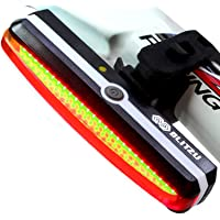 Ultra Bright Bike Light Blitzu Cyborg 168T USB Rechargeable Bicycle Tail Light. Red High Intensity Rear LED Accessories…