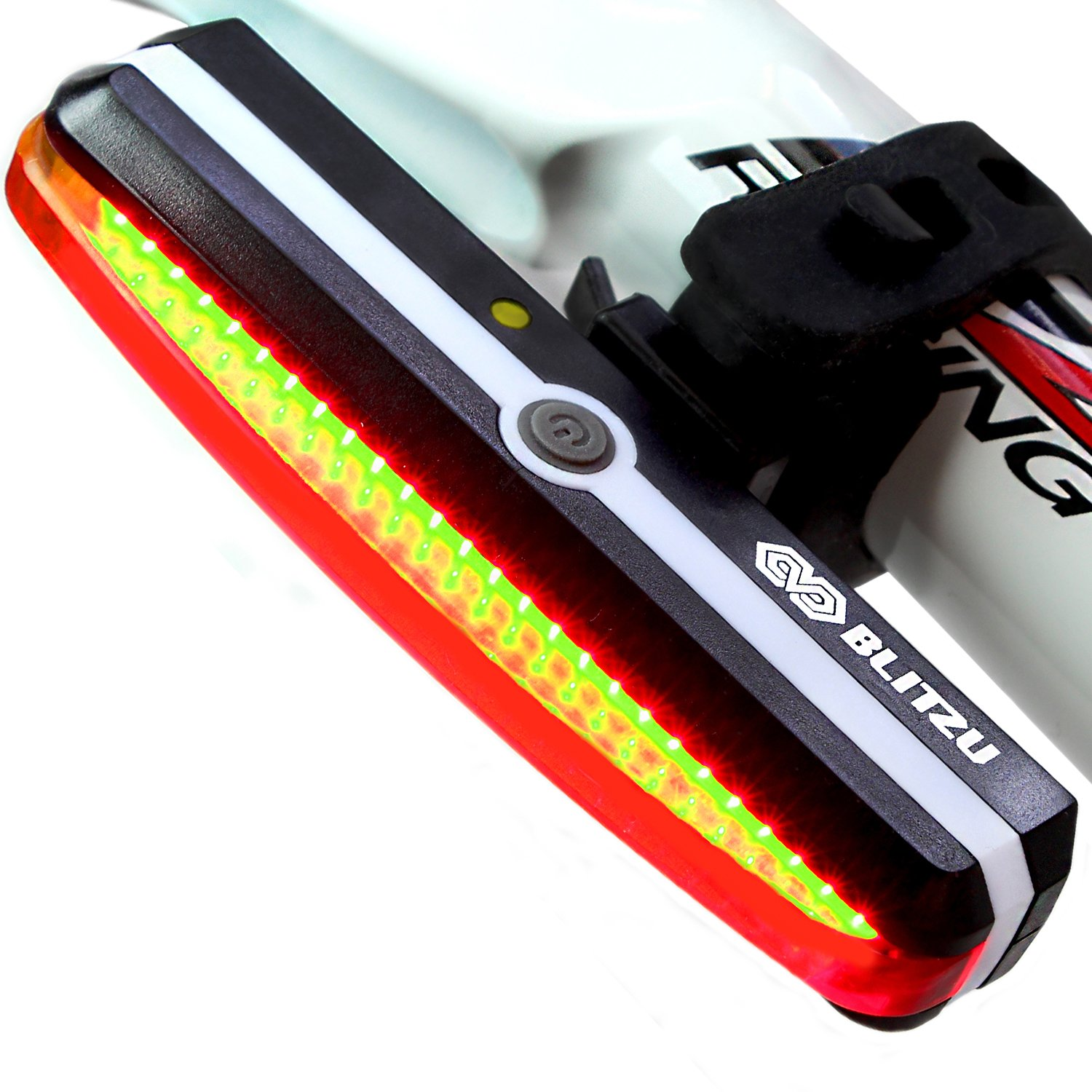 Ultra Bright Bike Light Blitzu Cyborg 168T USB Rechargeable Bicycle Tail Light. Red High Intensity Rear LED Accessories Fits On Any Road Bikes, Helmets. Easy To Install for Cycling Safety Flashlight by BLITZU