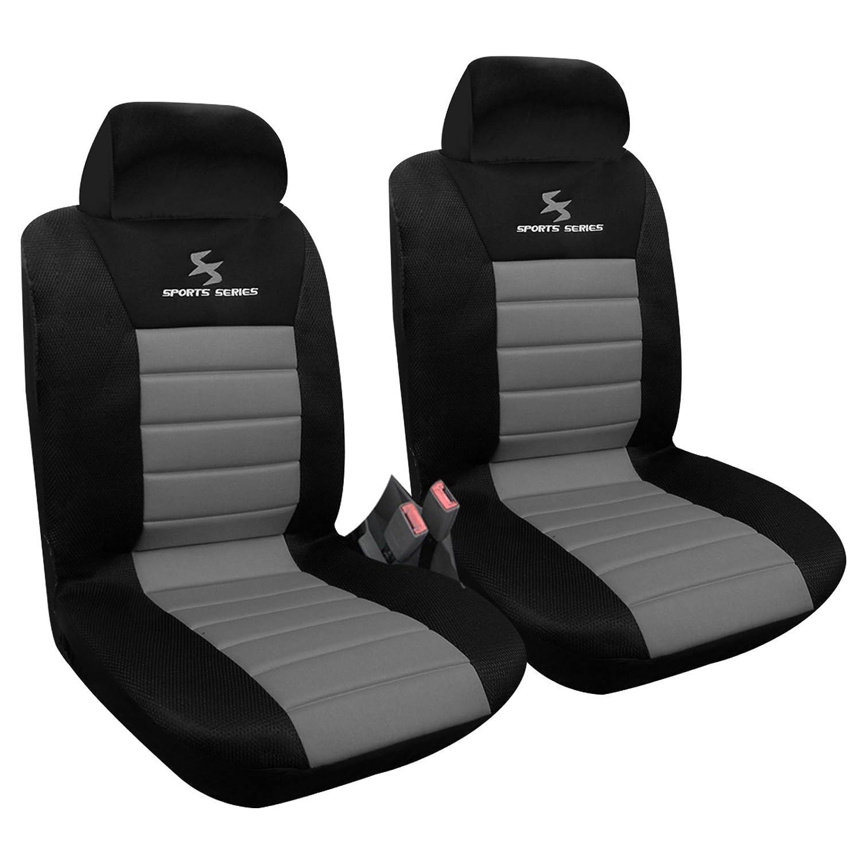 WOLTU 2 x Housse de siège voiture universelle Auto housse Polyester housses pour siège,siège housse,couvre siège Noir Gris (AS7255-2)