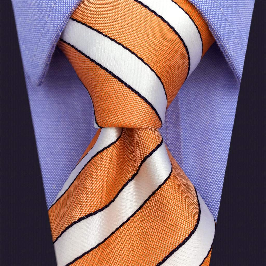 S/&W SHLAX/&WING Striped Neckties for Men Orange White Neck Tie Silk