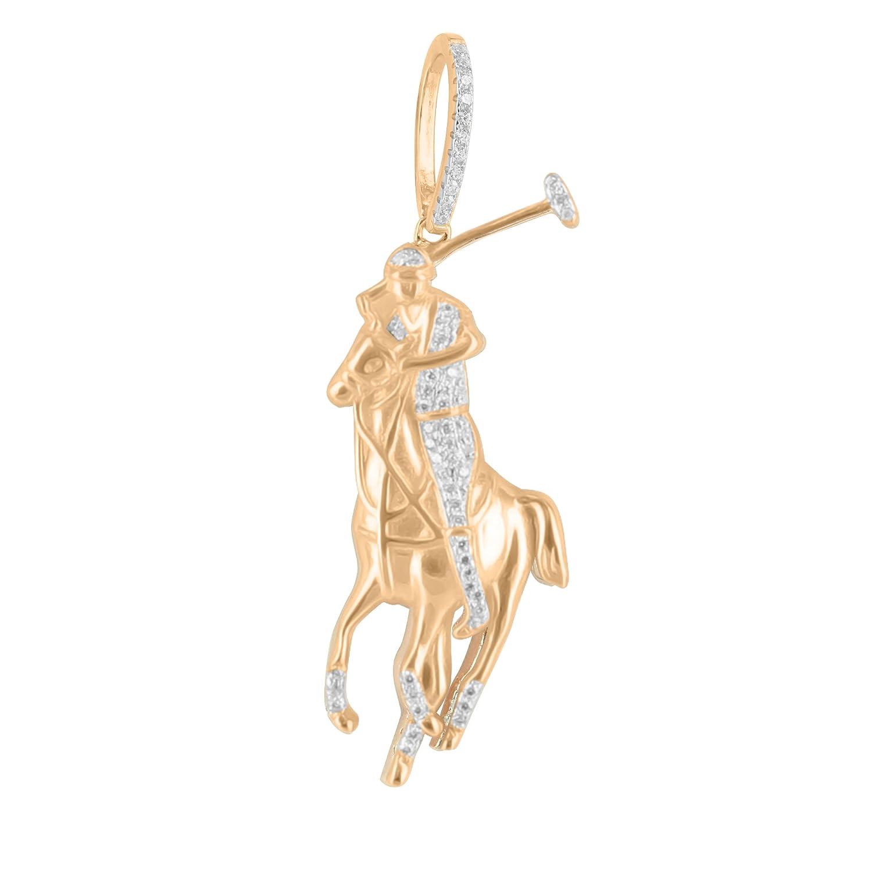 Custom Polo caballo Jockey colgante plata de ley 925 14 K oro ...