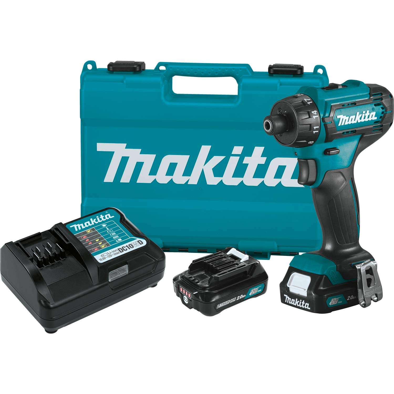 Makita FD10R1 12V max CXT Lithium-Ion Cordless 1/4'' Hex Driver-Drill Kit (2.0Ah)