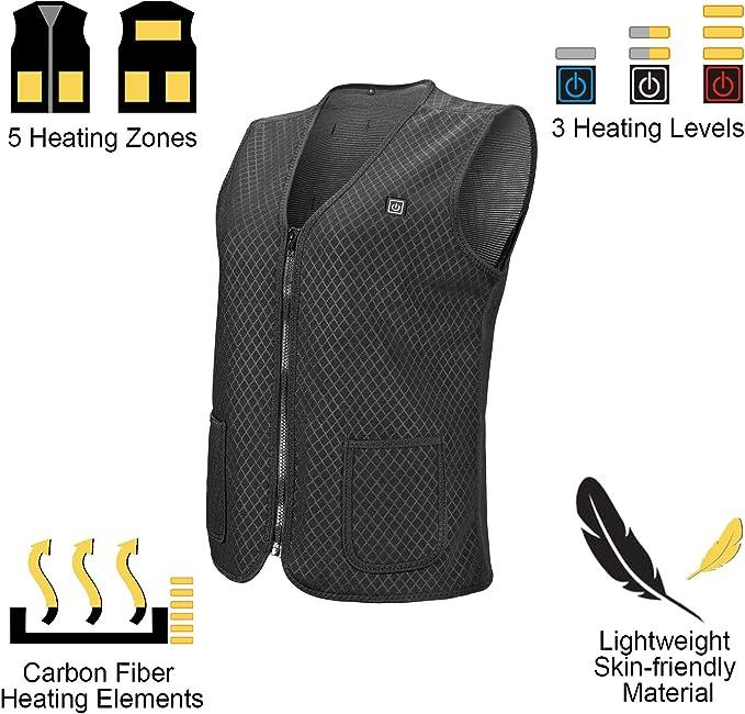 Minear seguro Chaleco calefactor el/éctrico con USB camping senderismo chaleco de invierno para pesca suave caza 3 niveles de temperatura bater/ía externa no incluida