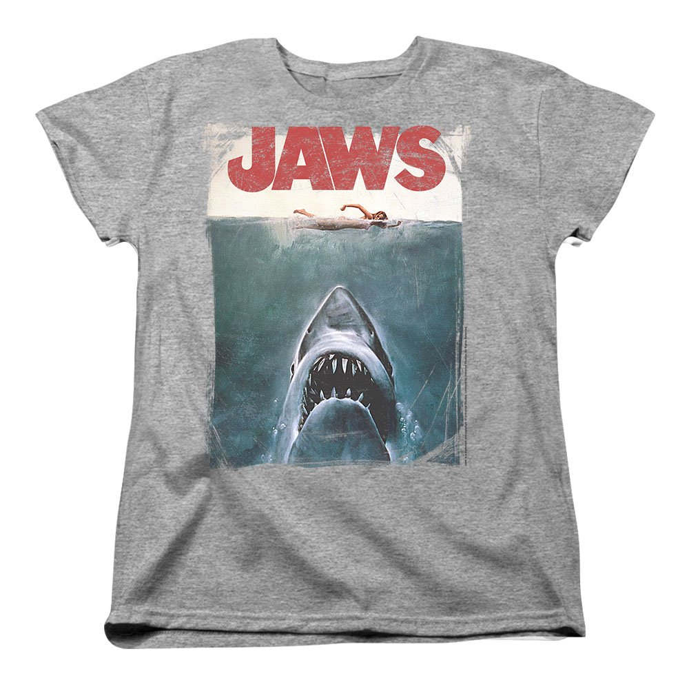 ed9268ef0138 Amazon.com: Jaws Shark Original Movie Poster Women's T Shirt & Stickers:  Clothing