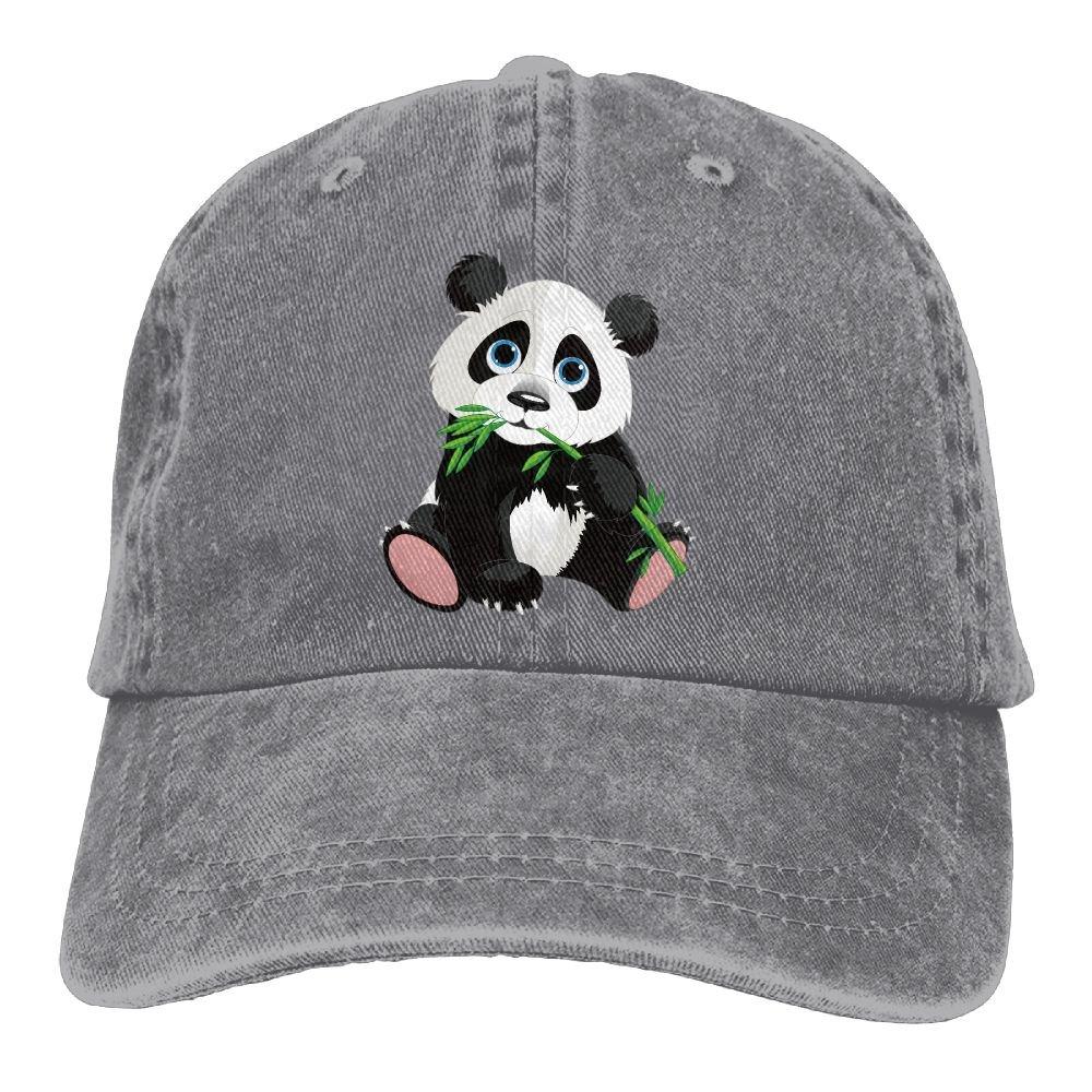Cute Bamboo Panda Trend Printing Cowboy Hat Fashion Baseball Cap for Men and Women Black