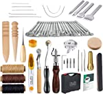 Caydo 59 Pieces Leather Working Tools Kit with Instructions for Hand