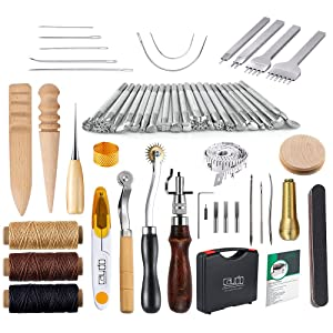 Caydo 59 Pieces Leather Craft Hand Tools Kit for Hand Sewing Stitching