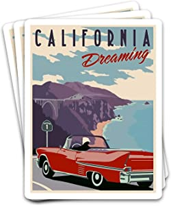 SNOWIX California US State Vintage Dreaming Classic Car Travelling Poster Ideas Stickers for Laptops Tumblers Books Luggages Cases Pack 3x4 in Vinyl 3pcs/Pack