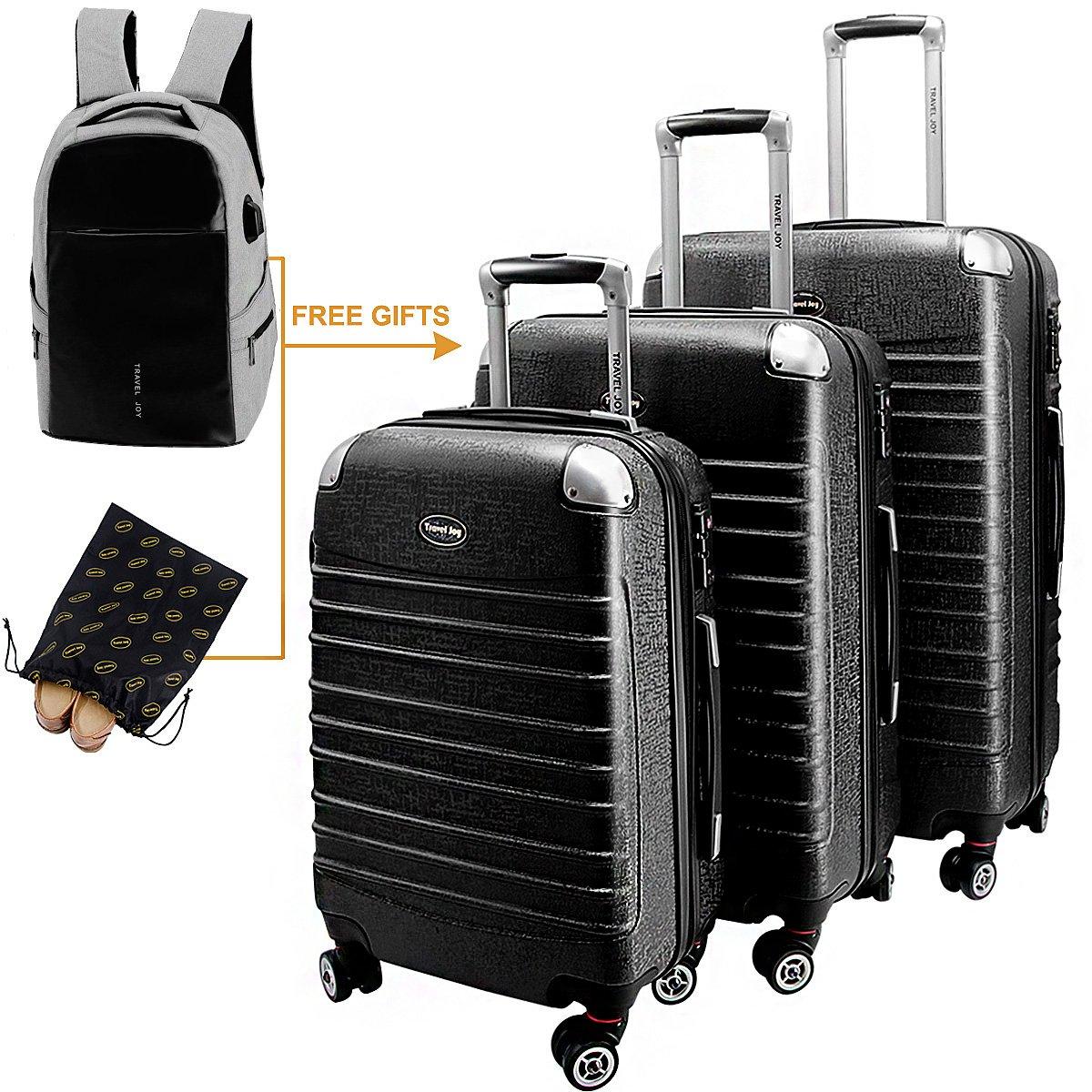Hardside Luggage Set Hardside Spinner Luggage Hard Shell Suitcase Set TSA Luggage Carry On Luggage 3 Pieces (20'' 24'' 28'')Black