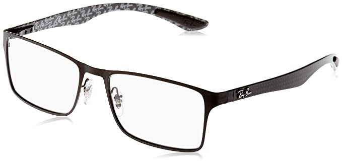 05b2895a89 Ray-Ban Men s 0rx8415 No Polarization Rectangular Prescription Eyewear Frame  Matte Black 53 mm