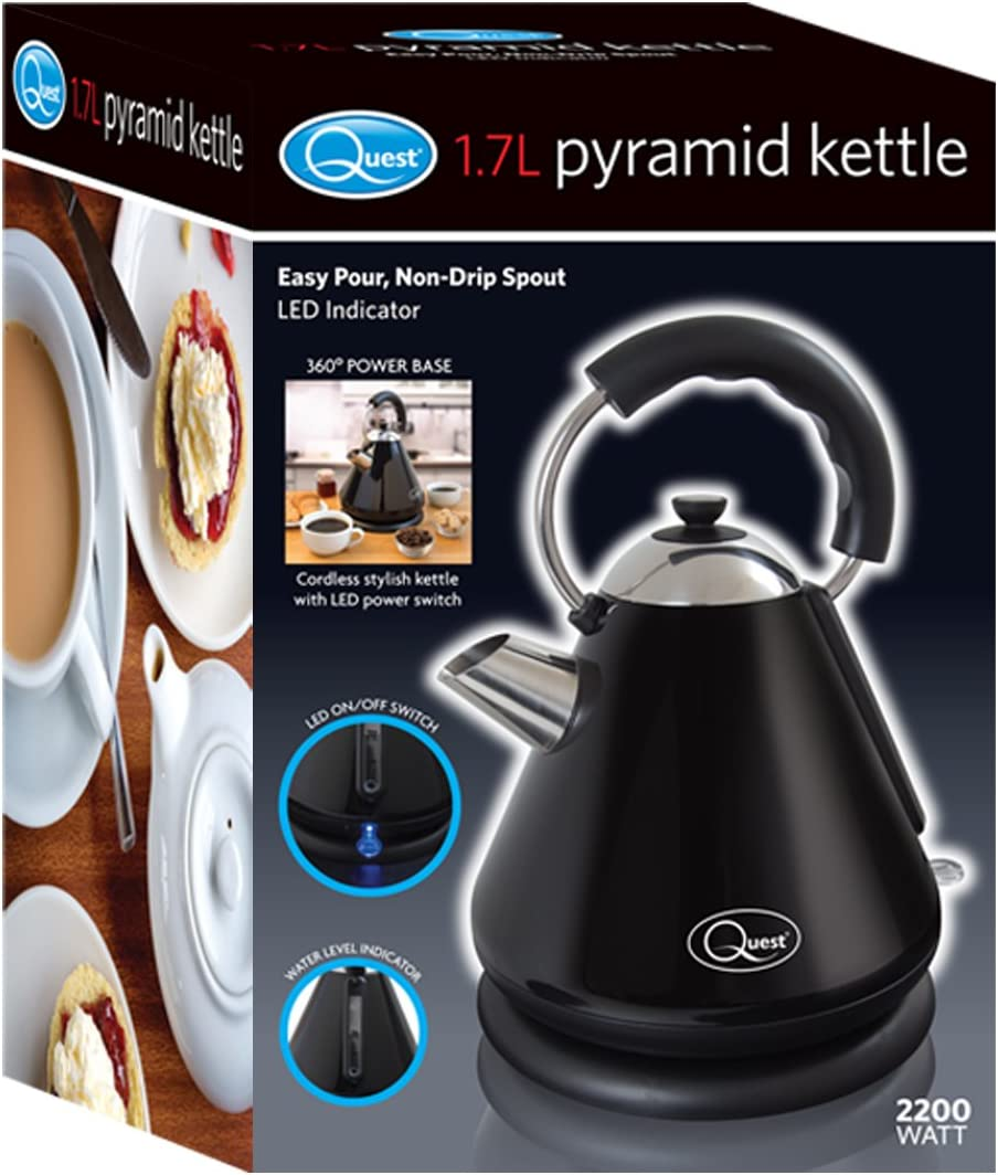 Quest 34500 Fast Boil Pyramid Shape Cordless Kettle, 2200 W, 1.7 liters, Cream Black