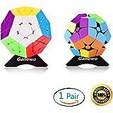 Ganowo Megaminx Speed Cube Puzzle 2x2 3x3 Magic Cubes Twist Set Stickerless Brain Teaser Game Fidget Toys with 2 pcs Extra Cube Stand, Pink